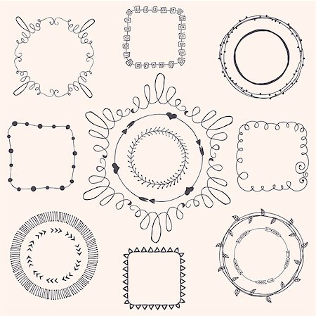 drawn curved - Decorative Black Hand Sketched Doodle Frames, Borders. Design Elements. Vector Illustration Stock Photo - Budget Royalty-Free & Subscription, Code: 400-08047641