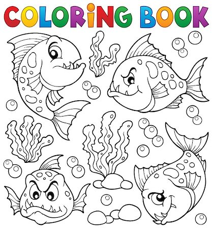 piranha fish - Coloring book piranha fishes theme 1 - eps10 vector illustration. Stock Photo - Budget Royalty-Free & Subscription, Code: 400-08047749