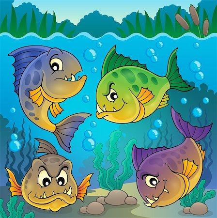 piranha fish - Four piranha fishes underwater - eps10 vector illustration. Stock Photo - Budget Royalty-Free & Subscription, Code: 400-08047756