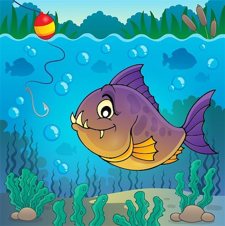 piranha fish - Piranha fish underwater theme 3 - eps10 vector illustration. Stock Photo - Budget Royalty-Free & Subscription, Code: 400-08047774