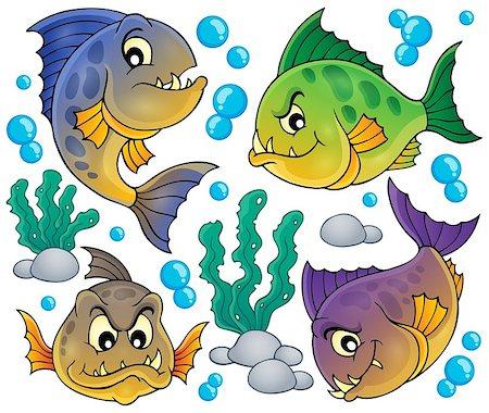 piranha fish - Piranha fishes collection - eps10 vector illustration. Stock Photo - Budget Royalty-Free & Subscription, Code: 400-08047775