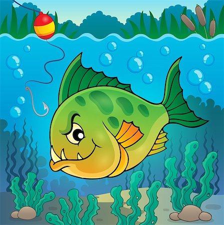 piranha fish - Piranha fish underwater theme 1 - eps10 vector illustration. Stock Photo - Budget Royalty-Free & Subscription, Code: 400-08047772