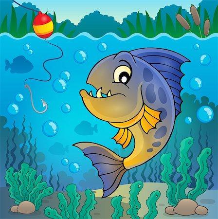 piranha fish - Piranha fish underwater theme 2 - eps10 vector illustration. Stock Photo - Budget Royalty-Free & Subscription, Code: 400-08047773