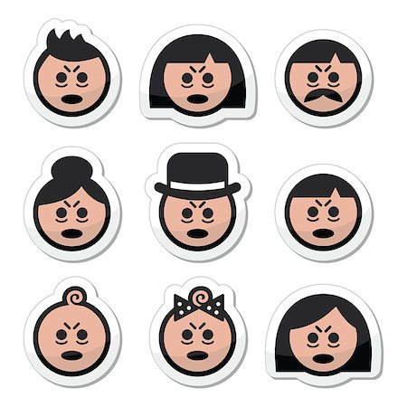 sleepy old woman - Vector icons set of people looking sleepy or stressed isolated on white Stock Photo - Budget Royalty-Free & Subscription, Code: 400-08047817
