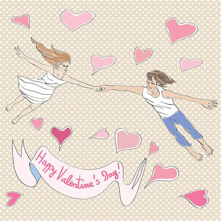 flying heart girl - Valentine's Day card with lovers flying, hand drawn illustration over a background with hearts and text over white label Stock Photo - Budget Royalty-Free & Subscription, Code: 400-08048671