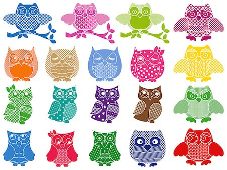 stencils - Set of nineteen colorful ornamental vector owl stencils isolated over white background Stock Photo - Budget Royalty-Free & Subscription, Code: 400-08048975