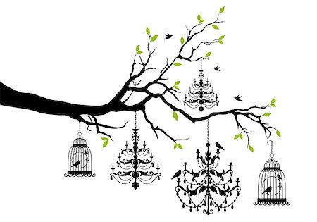 simsearch:400-04399778,k - tree branch with chandeliers and birdcages and birds, vector illustration Stock Photo - Budget Royalty-Free & Subscription, Code: 400-08041365