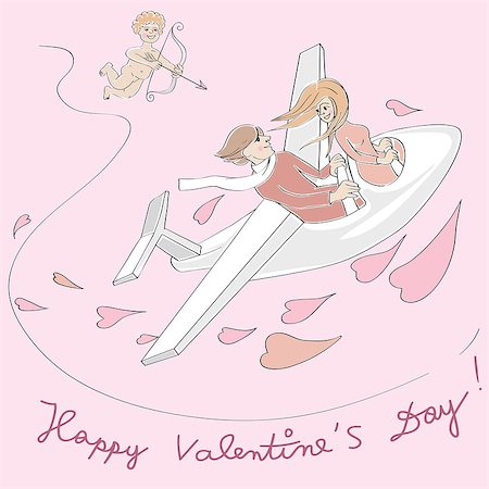 flying heart girl - Valentine's Day card, Love Day cartoon illustration of two lovers in a plane flying and Cupido with bow Stock Photo - Budget Royalty-Free & Subscription, Code: 400-08042284