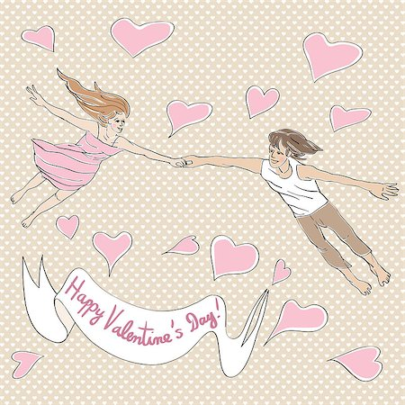 flying heart girl - Valentine's Day card with lovers flying, hand drawn illustration over a background with hearts and text over white label Stock Photo - Budget Royalty-Free & Subscription, Code: 400-08042280