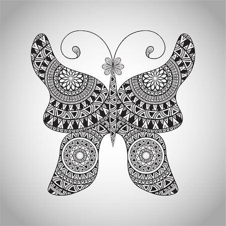Vector  Doodle Buttrfly, tattoo sketch,  all brushes included, you can create your own pattern Stock Photo - Budget Royalty-Free & Subscription, Code: 400-08043419