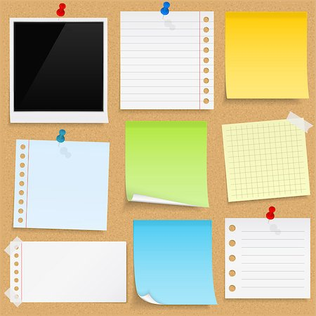 Paper notes, sticky papers an photo frames on bulletin board, vector eps10 illustration Stock Photo - Budget Royalty-Free & Subscription, Code: 400-08043604