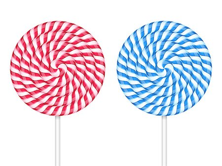 simsearch:400-04344039,k - Red and blue lollipops on white backgrond, vector eps10 illustration Stock Photo - Budget Royalty-Free & Subscription, Code: 400-08043605