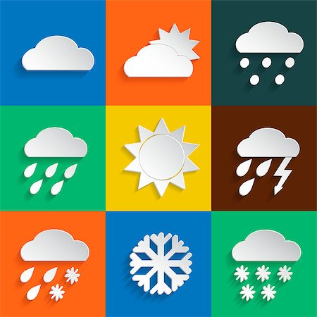 Weather icons in paper style on colored backgrounds. Vector background or separate elements Stock Photo - Budget Royalty-Free & Subscription, Code: 400-08054749