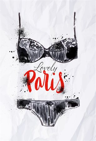 Paris poster with black lingerie with the words lovely paris painted in watercolor on crumpled paper Stock Photo - Budget Royalty-Free & Subscription, Code: 400-08050355