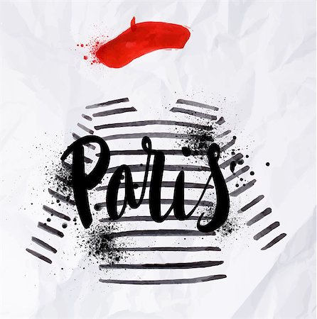 Paris poster with a red beret and striped sweater painted in watercolor on crumpled paper Stock Photo - Budget Royalty-Free & Subscription, Code: 400-08050357