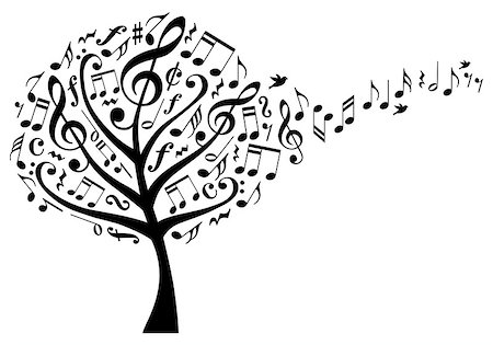 simsearch:400-04399778,k - music tree with treble clefs and flying musical notes, vector illustration Stock Photo - Budget Royalty-Free & Subscription, Code: 400-08050973