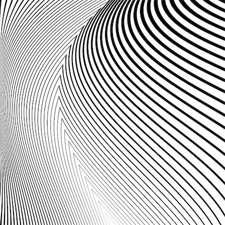 Design monochrome lines movement illusion background. Abstract striped distortion backdrop. Vector-art illustration. No gradient Stock Photo - Budget Royalty-Free & Subscription, Code: 400-08051120