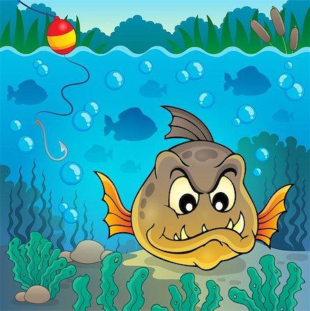 piranha fish - Piranha fish underwater theme 4 - eps10 vector illustration. Stock Photo - Budget Royalty-Free & Subscription, Code: 400-08051320