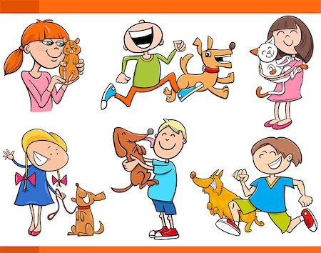 Cartoon Illustration of Kids with Pets Characters Set Stock Photo - Budget Royalty-Free & Subscription, Code: 400-08051778