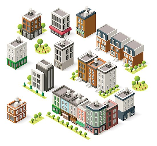 Set of the isometric city buildings, shops and other elements Stock Photo - Royalty-Free, Artist: tele52, Image code: 400-08051898