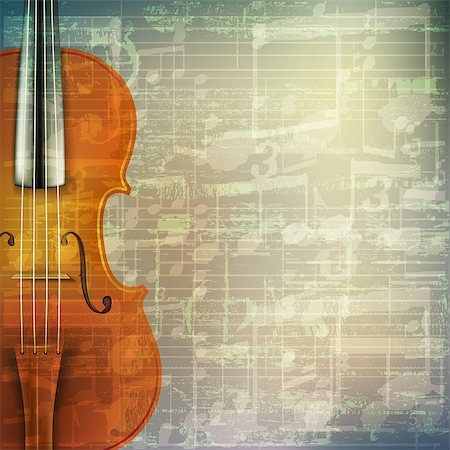 abstract grunge green cracked music symbols vintage background with violin Stock Photo - Budget Royalty-Free & Subscription, Code: 400-08052096