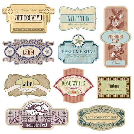 Ornate vintage labels in style Art Nouveau. All elements separately. Stock Photo - Budget Royalty-Free & Subscription, Code: 400-08053753