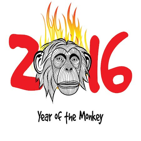 The year of fire monkey Chinese symbol calendar in red on figures vector illustration. Chinese new year 2016 (Monkey year) . Stock Photo - Budget Royalty-Free & Subscription, Code: 400-08053789