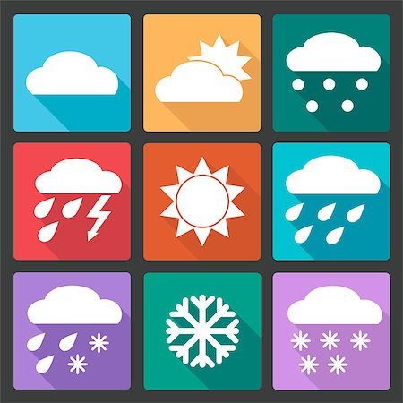 Vector Collection of Weather Icons in colored flat design style Stock Photo - Budget Royalty-Free & Subscription, Code: 400-08053885