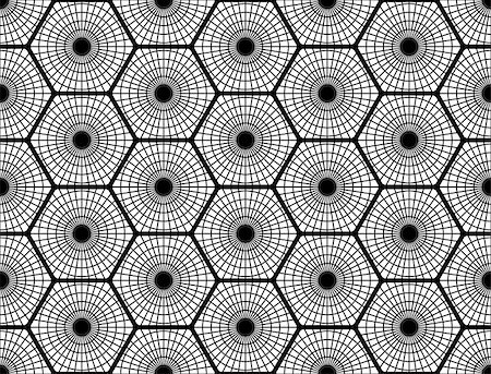 simsearch:400-04476890,k - Design seamless monochrome hexagon pattern. Abstract grid textured background. Vector art. No gradient Stock Photo - Budget Royalty-Free & Subscription, Code: 400-08053961
