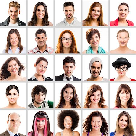 Collage of Multiple portraits of different people Stock Photo - Budget Royalty-Free & Subscription, Code: 400-08074133