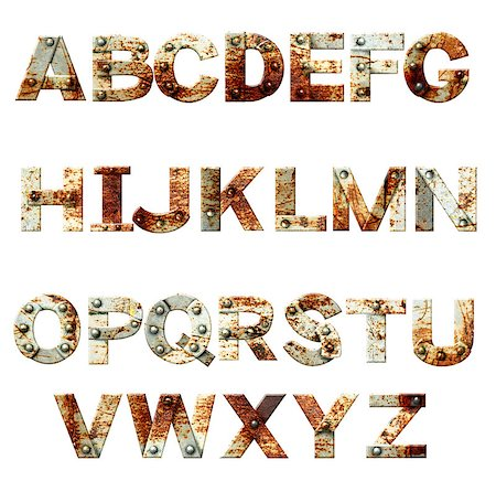 Alphabet - letters from rusty metal with rivets. Isolated on white background Stock Photo - Budget Royalty-Free & Subscription, Code: 400-08074573
