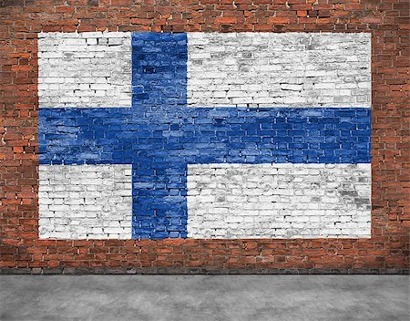 National flag of Finland painted on old brick wall Stock Photo - Budget Royalty-Free & Subscription, Code: 400-08074662
