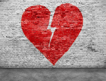 Shape of broken heart painted on brick wall Stock Photo - Budget Royalty-Free & Subscription, Code: 400-08074726
