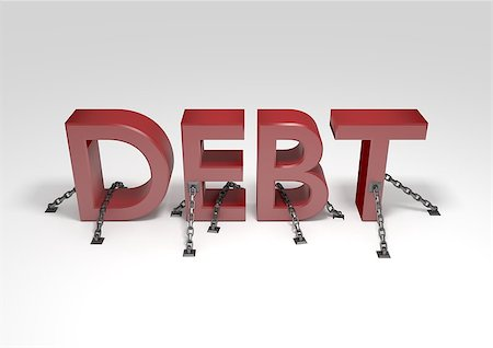Illustration of the word Debt chained to the ground Stock Photo - Budget Royalty-Free & Subscription, Code: 400-08070923