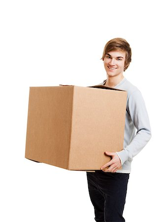 Portrait of a handsome young man holding a card box Stock Photo - Budget Royalty-Free & Subscription, Code: 400-08072497
