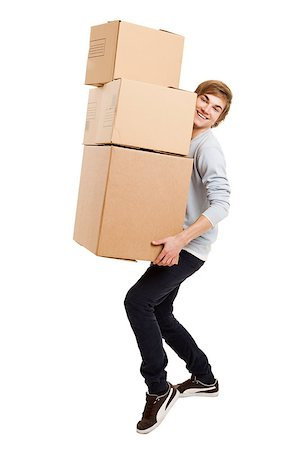 Portrait of a handsome young man holding card boxes, isolated on white Stock Photo - Budget Royalty-Free & Subscription, Code: 400-08072498