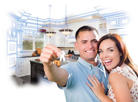 Young Happy Military Couple with New House Keys Over Kitchen Drawing and Photo Combination. Stock Photo - Budget Royalty-Free & Subscription, Code: 400-08073055