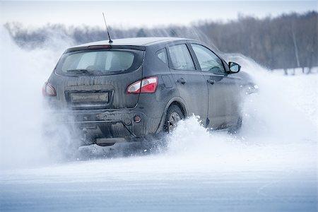 Car drift spray snow Stock Photo - Budget Royalty-Free & Subscription, Code: 400-08073763