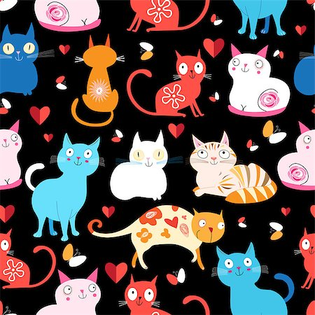 Bright seamless pattern of colored cats on a black background Stock Photo - Budget Royalty-Free & Subscription, Code: 400-08094825