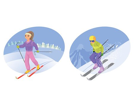Vector illustration of a skier and mountain-skier Stock Photo - Budget Royalty-Free & Subscription, Code: 400-08095195