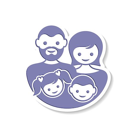 Beautiful vector family label with parents and children Stock Photo - Budget Royalty-Free & Subscription, Code: 400-08095359
