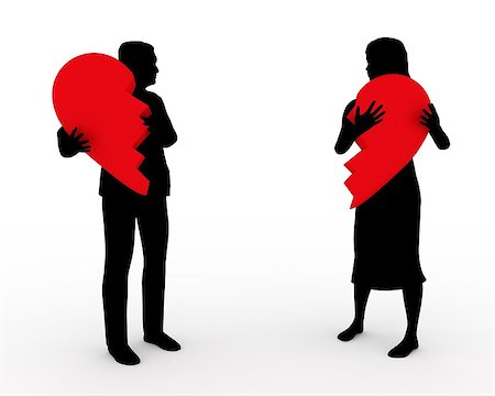 sad lovers break up - Illustration of a couple holding two parts of the same heart Stock Photo - Budget Royalty-Free & Subscription, Code: 400-08095460