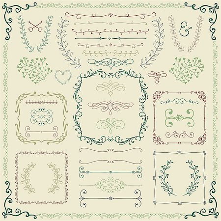 drawn curved - Colorful Vintage Hand Sketched Doodle Design Elements. Decorative Branches, Borders, Frames, Laurels, Dividers. Vector Illustration. Stock Photo - Budget Royalty-Free & Subscription, Code: 400-08095648