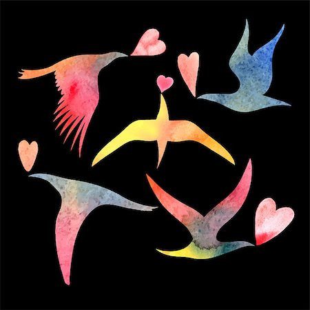 fly heart - bright watercolor bird lovers on a black background Stock Photo - Budget Royalty-Free & Subscription, Code: 400-08095676