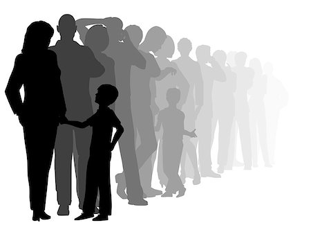 EPS8 editable vector cutout illustration of a long queue of people waiting patiently with all figures as separate objects Stock Photo - Budget Royalty-Free & Subscription, Code: 400-08097490