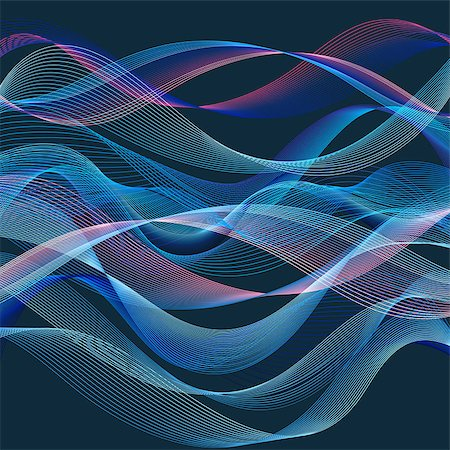 simsearch:400-04638538,k - Graphic Abstract wave blue background with waves Stock Photo - Budget Royalty-Free & Subscription, Code: 400-08097675
