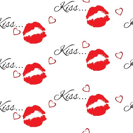 simsearch:400-04597082,k - Seamless pattern with beautiful red colors lips prints on white background. Stock Photo - Budget Royalty-Free & Subscription, Code: 400-08098648
