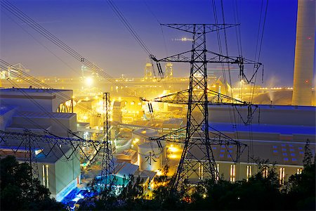 Power station with smoke at night Stock Photo - Budget Royalty-Free & Subscription, Code: 400-08115579