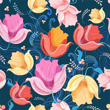 beautiful illustration of a pattern of flowers tulips Stock Photo - Budget Royalty-Free & Subscription, Code: 400-08115903