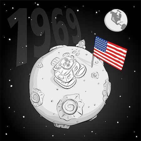 astronaut on the moon came out of the rocket, raised the flag and looking at the stars. EPS 10 Stock Photo - Budget Royalty-Free & Subscription, Code: 400-08112214